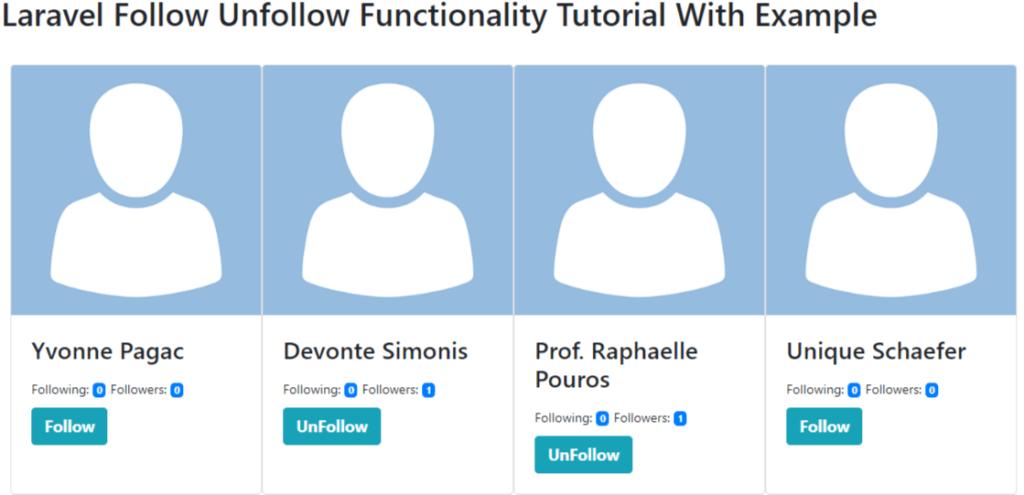 laravel follow unfollow system example