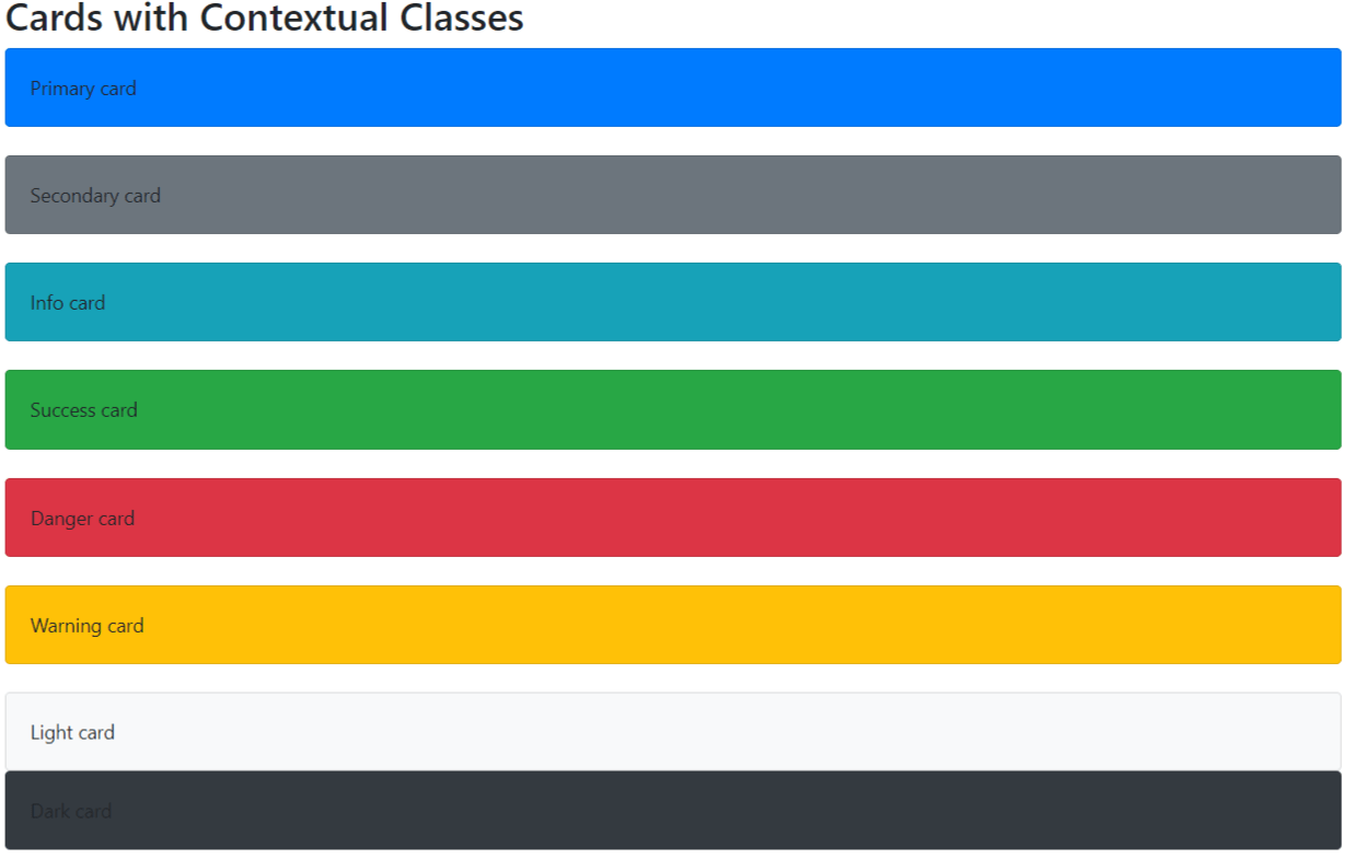 Bootstrap 4 Contextual Classes with Cards Example