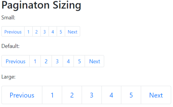 Bootstrap 4 Pagination Sizing Example