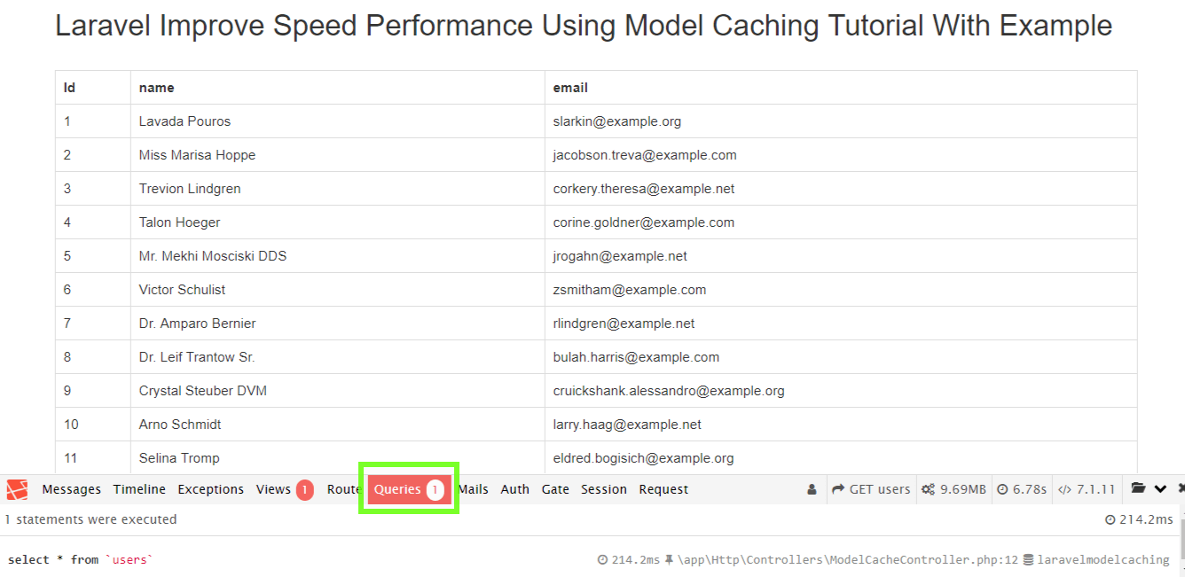 Laravel Improve Speed Performance Using Model Caching Example