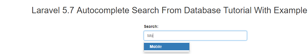 Laravel Autocomplete Search From Database Tutorial Example